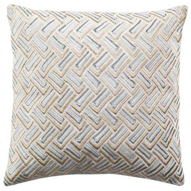 Grey/Gold Metallic Pillow - Home Depot