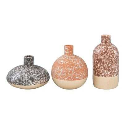 Huntingdon Brown Stoneware Vases With Reactive Glaze Finishes (Set of 3 Shapes/Colors) (Each One Will Vary) - Wayfair