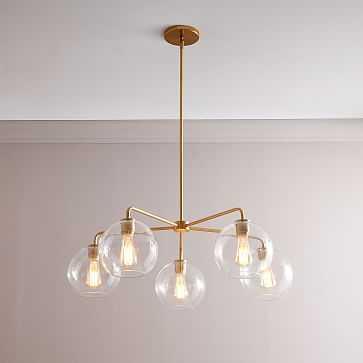 """Sculptural 5-Light Chandelier, Globe Small, Clear, Brass, 8"""" - West Elm"""