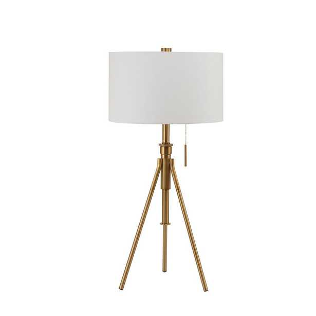 Ore International 37.5 in.H MID-Century Adjustable Tripod Gold Table Lamp - Home Depot