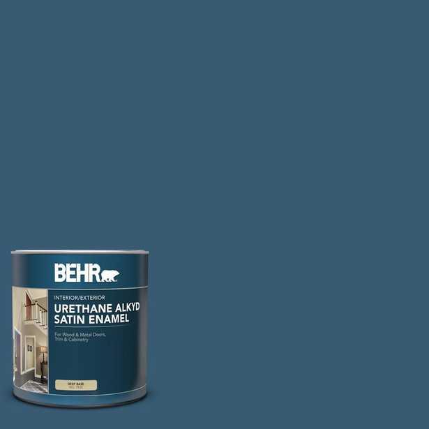 BEHR 1 qt. #S490-7 Superior Blue Satin Enamel Urethane Alkyd Interior/Exterior Paint - Home Depot