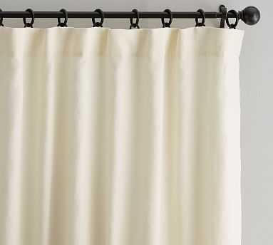 "Classic Belgian Flax Linen Drape, Cotton Lining, 50 x 96"", Ivory - Pottery Barn"