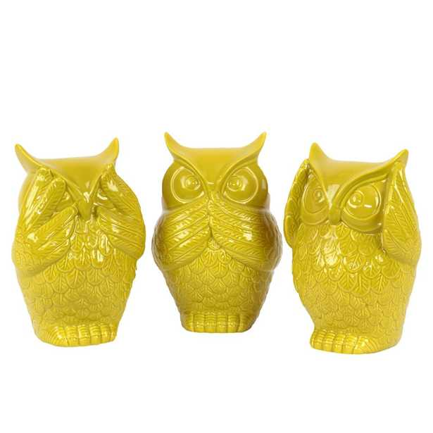 6.5 in. H Owl Decorative Figurine in Yellow Gloss Finish (Set of 3), Metallics - Home Depot