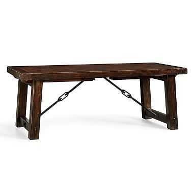 "Benchwright Extending Rectangular Dining Table, Medium 74"" - 104"" L, Alfresco Brown - Pottery Barn"