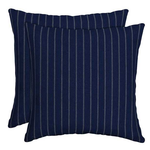 Arden Selections 16 in. x 16 in. Navy Woven Stripe Outdoor Throw Pillow (2-Pack) - Home Depot