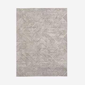 Carved Triangles Wool Rug, Platinum, 9'x12' - West Elm