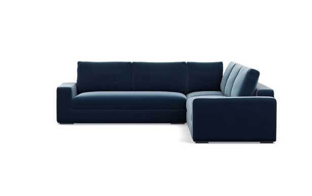 Ainsley Corner Sectional with Sapphire Fabric and Matte Black legs - Interior Define