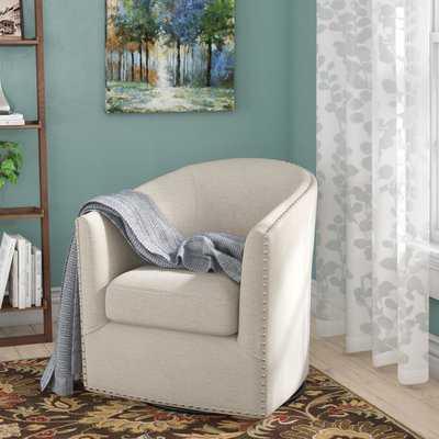 "Leominster 28"" W Polyester Swivel Barrel Chair - Wayfair"