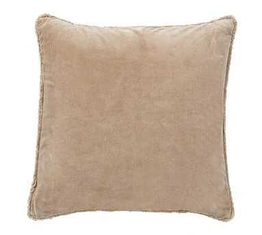 """Fringe Velvet Pillow Cover, 22"""", Lambswool - Pottery Barn"""