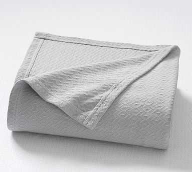 Diamond Organic Blanket, King/Cal. King, Smoke - Pottery Barn
