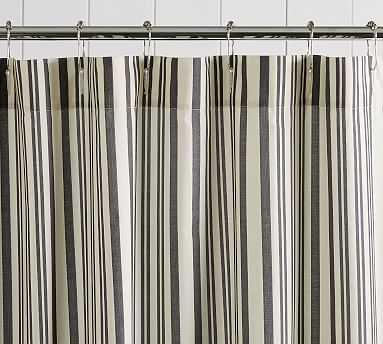 Antique Stripe Shower Curtain, 72x72, Gray - Pottery Barn