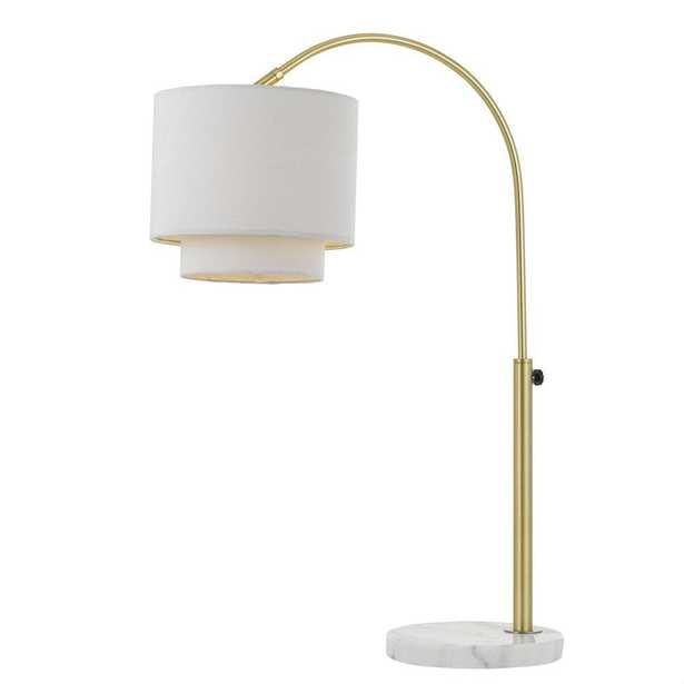 AF Lighting Arched 23 in. Gold Table Lamp with Fabric Shade - Home Depot