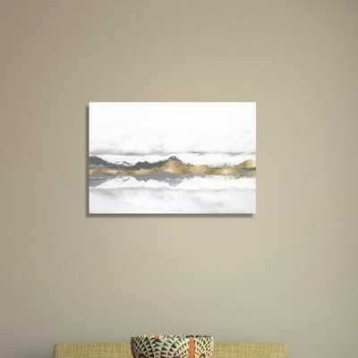 'Stood Still and Wondered Gold Abstract Art' Wrapped Canvas Graphic Art Print on Canvas - AllModern