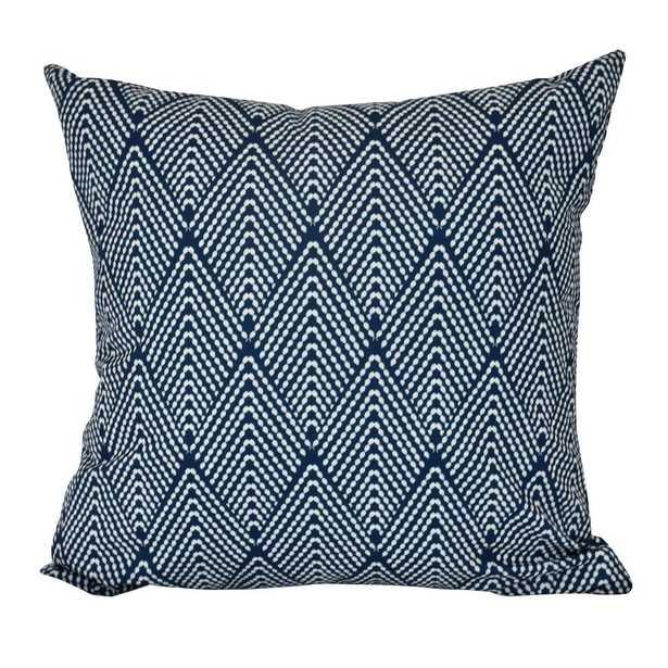 E by Design 16 in. Lifeflor Geometric Print Decorative Pillow, Navy Blue - Home Depot