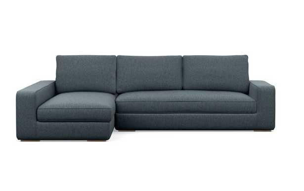 Ainsley Left Sectional with Blue Rain Fabric, down alt. cushions, and Natural Oak legs - Interior Define