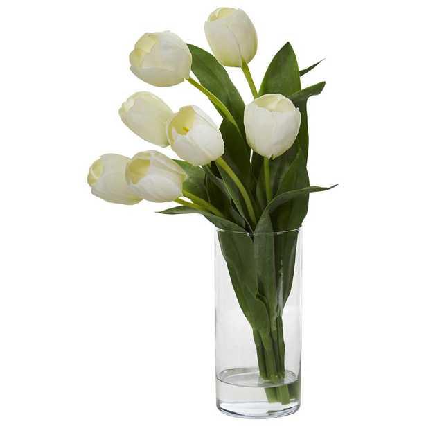 Indoor Tulip Artificial Arrangement in Cylinder Vase - Home Depot