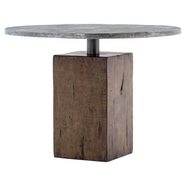 Levitan Industrial Lodge Weathered Wood Metal Round Bistro Table - Kathy Kuo Home