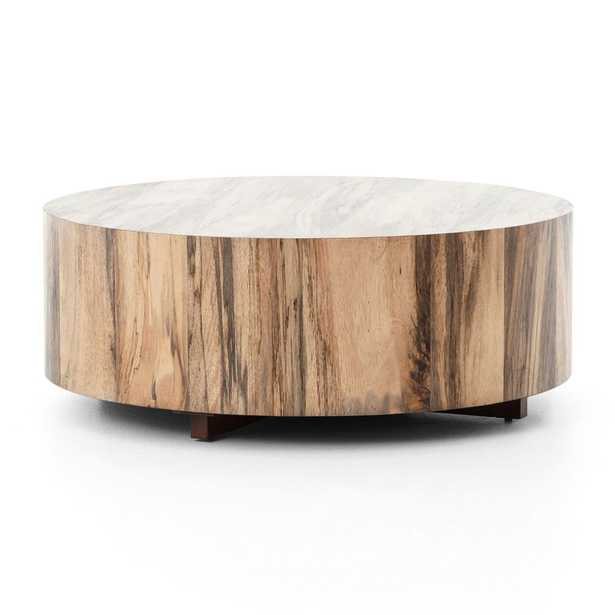 Dillon Spalted Primavera Round Wood Coffee Table - Crate and Barrel