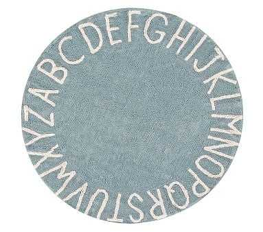 Lorena Canals Round ABC Washable Rug Vintage Blue 5' - Pottery Barn Kids