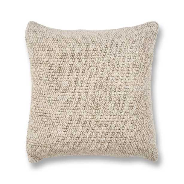 Oatmeal Heather Knit 20 in. x 20 in. Decorative Pillow, Ivory - Home Depot