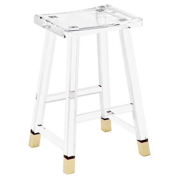 Reno Modern Classic Acrylic Brass Tip Counter Stool - Kathy Kuo Home