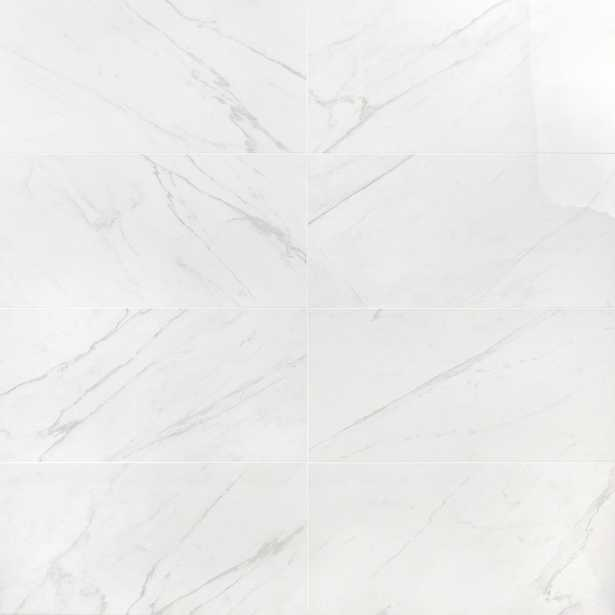 Ivy Hill Tile Marble White 12 in. x 24 in. 10mm Matte Porcelain Polished Floor and Wall Tile (8 pieces / 15.49 sq. ft. / box) - Home Depot
