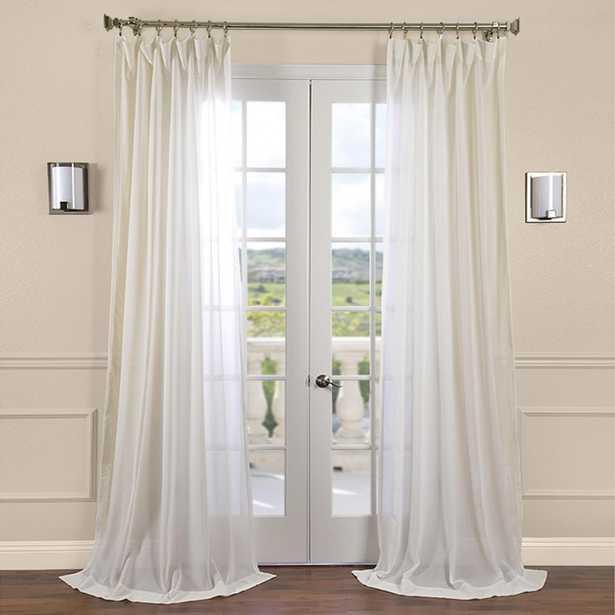 Exclusive Fabrics & Furnishings Gardenia Beige Faux Linen Sheer Curtain - 50 in. W x 96 in. L - Home Depot