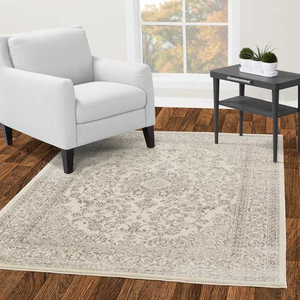 Jasmin Collection Oriental Medallion Design Ivory and Gray 5 ft. x 7 ft. Area Rug - Home Depot