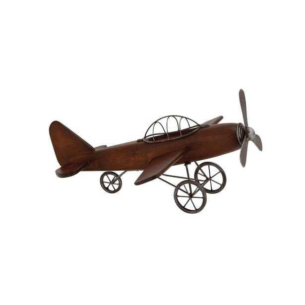 Litton Lane Vintage Plane Wood and Metal Decor, Brown/Silver - Home Depot