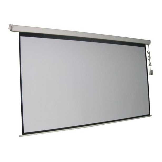 ProHT 84 in. Electric Projection Screen with White Frame - Home Depot