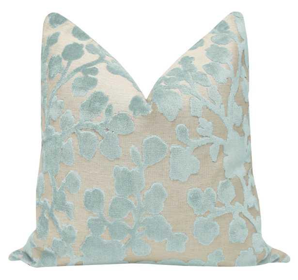 """Blossom Cut Velvet // Spa Blue - 18"""" X 18"""" - Little Design Company"""