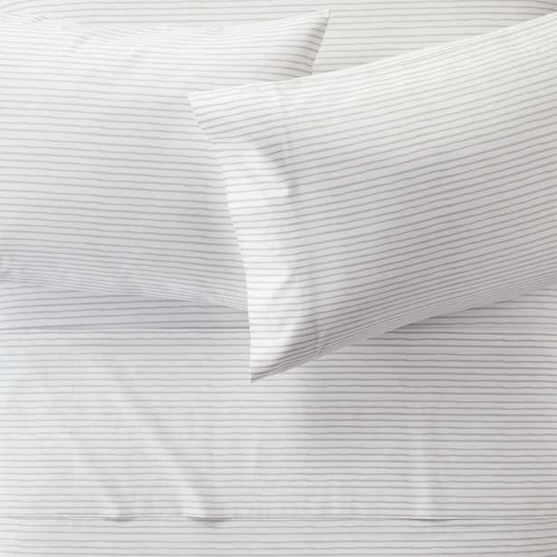 Organic Pattern Play Grey Stripe Queen Sheet Set - Crate and Barrel