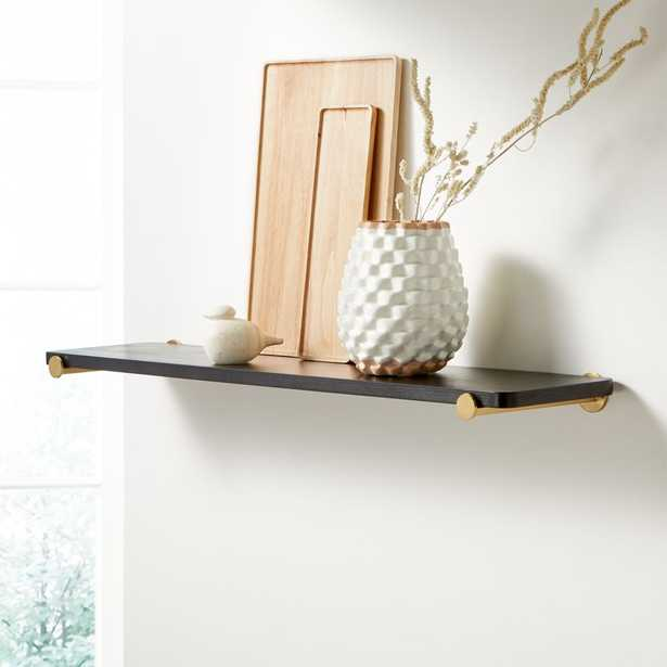 """Riggs 36"""" Black Shelf with Brass Dot Brackets - Crate and Barrel"""
