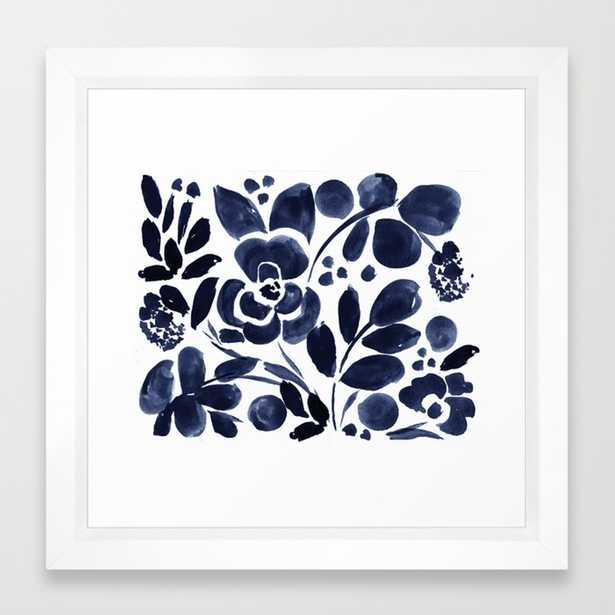 Navy Floral Framed Art Print by Crystalwalen - Society6