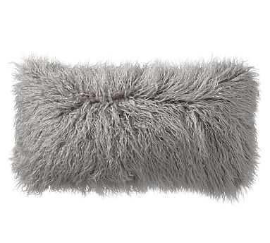 "Mongolian Faux Fur Lumbar Pillow Cover, 12 x 24"", Frost Gray - Pottery Barn"
