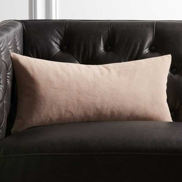 """23""""x11"""" Suede Pillow Pink with Feather-Down Insert - CB2"""