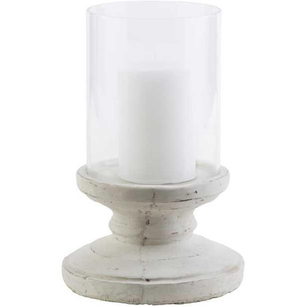 Tiberium 9.5 in. White Ceramic Candle Holder - Home Depot
