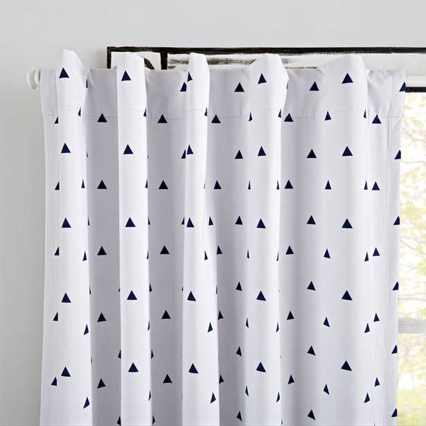 """Little Prints Blue Triangle 63"""" Blackout Curtain - Crate and Barrel"""