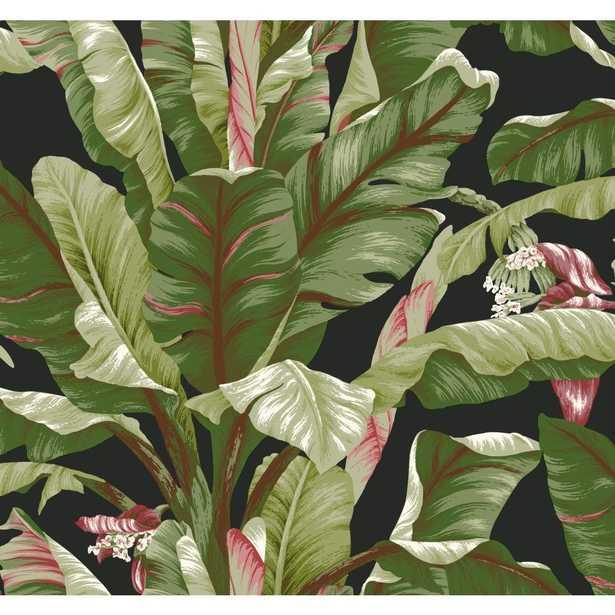 Tropics Banana Leaf Wallpaper, Black/Light To Dark Green/Brown/Red/Pink/White - Home Depot