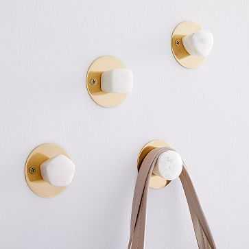 Marble + Brass Wall Hooks, Set of 4 - West Elm