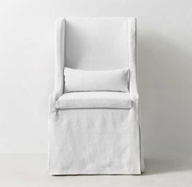 FAYE SLIPCOVERED DESK CHAIR - Washed Belgian Linen, White - RH Teen