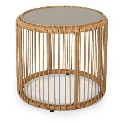 Cofer Outdoor Wicker Side Table with Tempered Glass Top - Wayfair