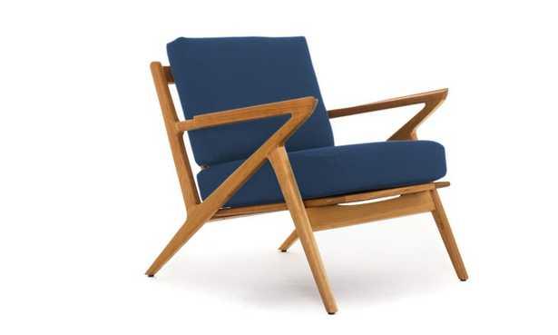 Soto Mid Century Modern Concave Arm Chair - Key Largo Denim - Cherry - Joybird