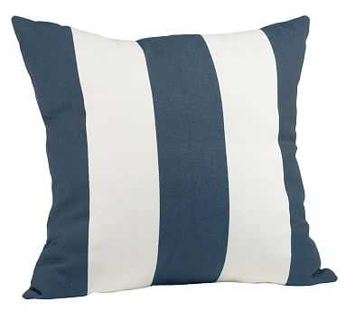"""PB Classic Stripe Indoor/Outdoor Pillow, 20"""", Ink Blue - Pottery Barn"""