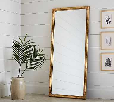 Bamboo Floor Mirror, Gold - Pottery Barn