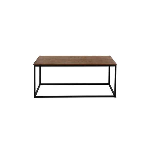 StyleWell Donnelly Rectangular Black Metal Coffee Table with Haze Wood Finish Top (41.9 in. W x 17.51 in. H), Black Metal/Haze Top - Home Depot