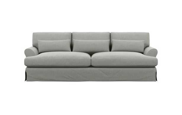 Maxwell Slipcovered Sofa with Ecru Fabric and Matte Black with Brass Cap legs - Interior Define