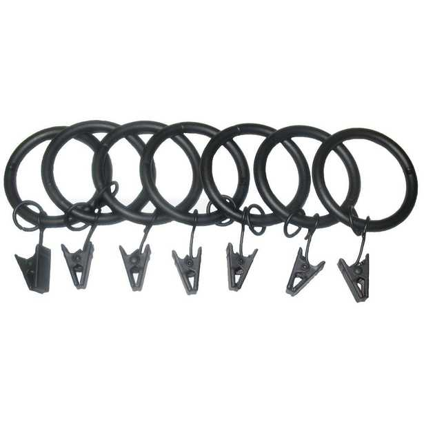 Classic Home 7 Pack 1-1/4 in. Matte Black Drapery Rings with Clips and Jump Rings - Home Depot
