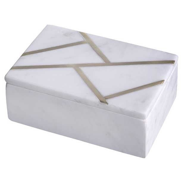 Tannon Modern Classic White Marble Brass Inlay Decorative Box - Kathy Kuo Home