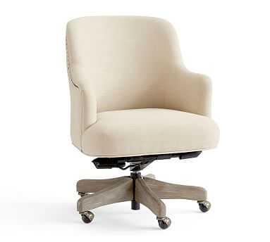 Reeves Upholstered Swivel Desk Chair, Gray Wash Frame, Linen Blend Oatmeal - Pottery Barn